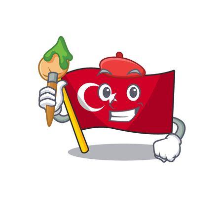Artist flag turkey character on shaped cartoon