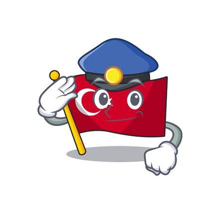 Police flag turkey character on shaped cartoon