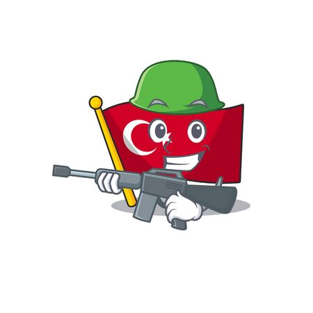 Army flag turkey character on shaped cartoon Çizim