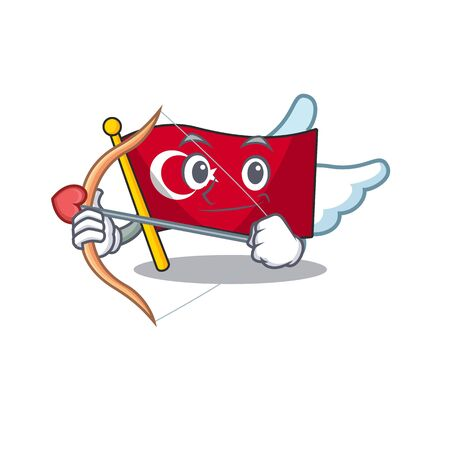 Cupid flag turkey character on shaped cartoon 일러스트