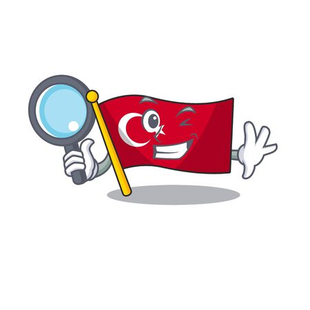 Detective flag turkey isolated in the cartoon