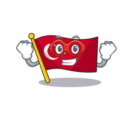 Super hero flag turkey isolated in the cartoon Çizim