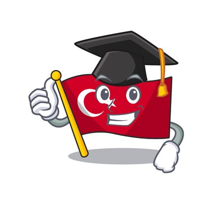 Graduation flag turkey isolated in the cartoon Illustration