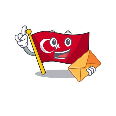 With envelope flag turkey isolated in the cartoon Illustration