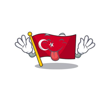 Tongue out turkey character flag in mascot drawer Иллюстрация