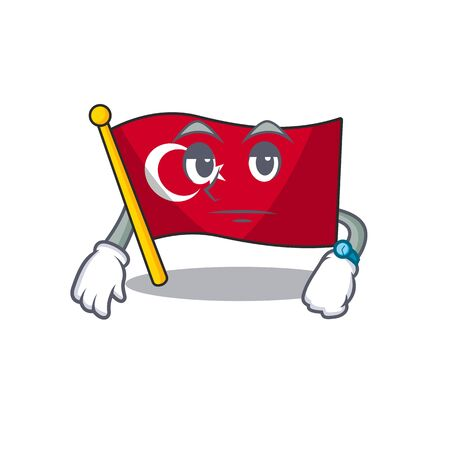 Waiting turkey character flag in mascot drawer