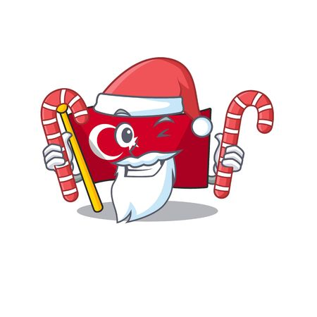 Santa with candy turkey character flag in mascot drawer