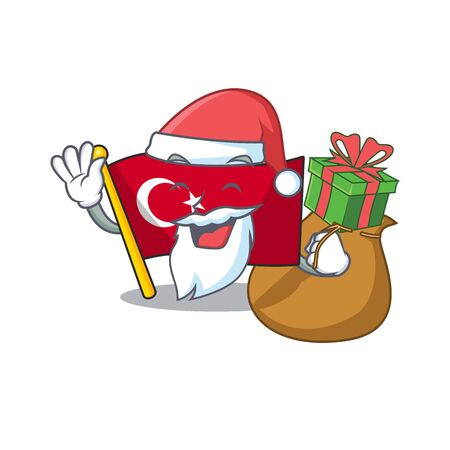 Santa with gift turkey character flag in mascot drawer