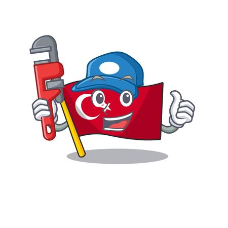 Plumber turkey character flag in mascot drawer