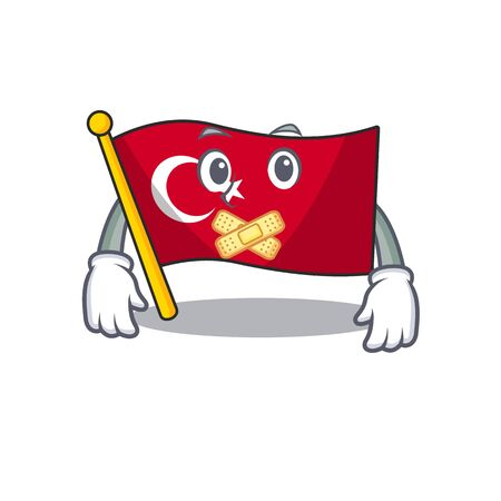 Silent turkey character flag in mascot drawer Иллюстрация