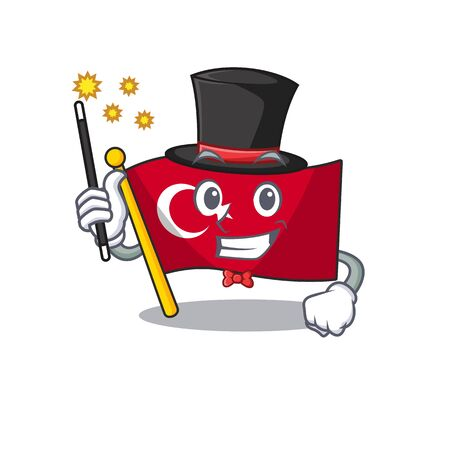 Magician turkey character flag in mascot drawer
