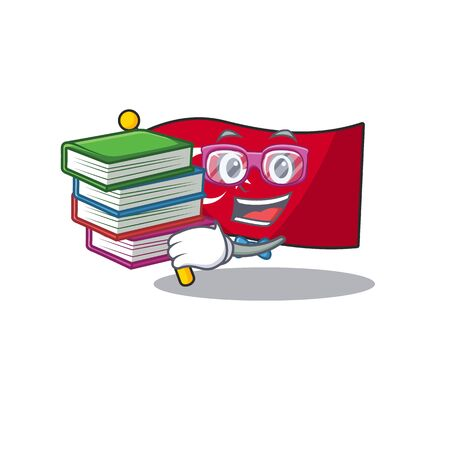 Student with book turkey character flag in mascot drawer Иллюстрация