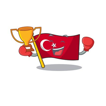 Boxing winner turkey character flag in mascot drawer  イラスト・ベクター素材