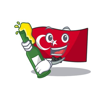 With beer turkey character flag in mascot drawer Иллюстрация