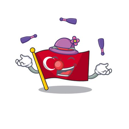 Juggling turkey character flag in mascot drawer