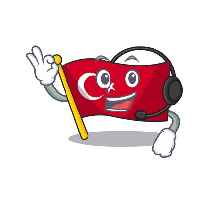 With headphone turkey character flag in mascot drawer Иллюстрация