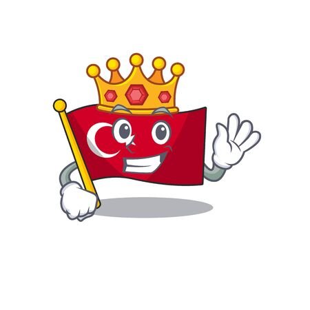 King turkey character flag in mascot drawer