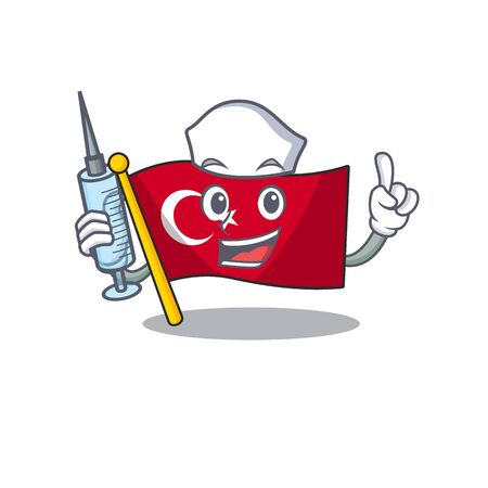 Nurse flag turkey isolated in the cartoon