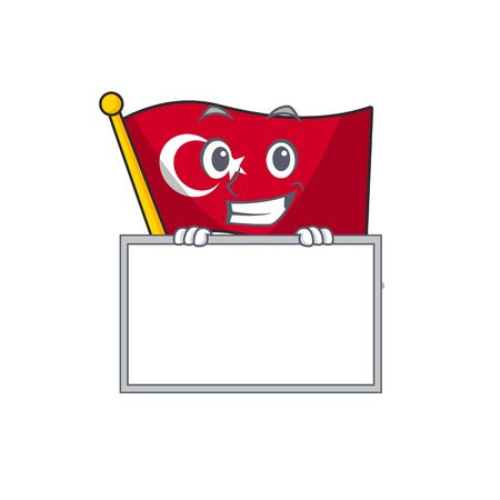 Grinning with board flag turkey character on shaped cartoon