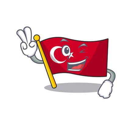 Two finger flag turkey isolated in the cartoon Ilustración de vector