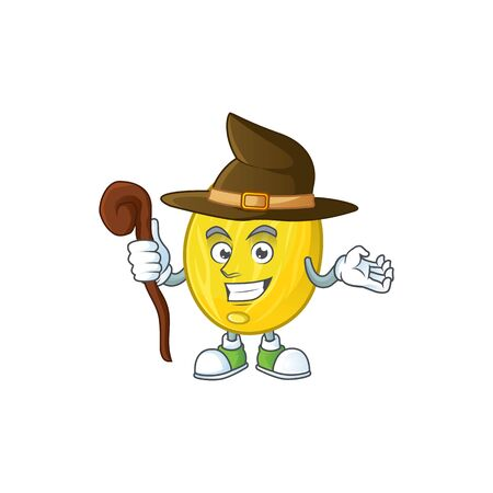 Witch fruit melon cartoon character with mascot vector illustration