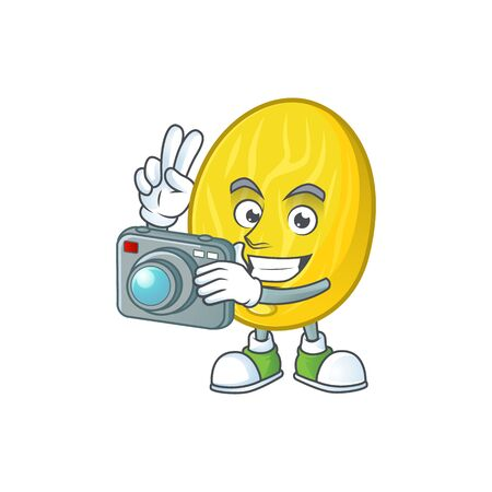 Photographer fruit melon cartoon character with mascot vector illustration Ilustração