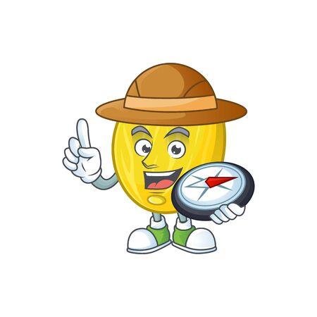 Explorer fruit melon cartoon character with mascot vector illustration