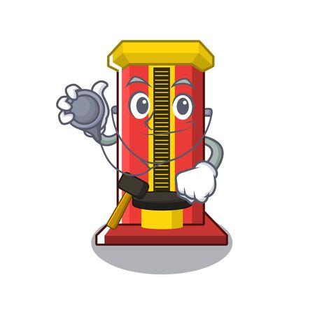 Doctor hammer cartoon shaped character game machine vector illustration  イラスト・ベクター素材
