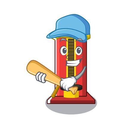 Playing baseball hammer cartoon shaped character game machine vector illustration