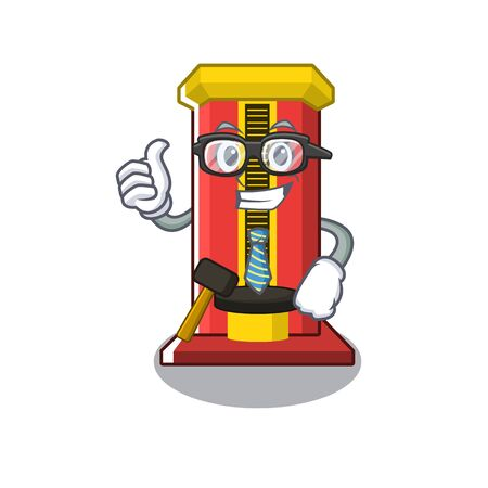 Businessman hammer game machine in the cartoon vector illustration