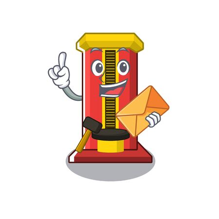 With envelope hammer game machine in the cartoon vector illustration