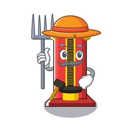 Farmer hammer cartoon shaped character game machine vector illustration