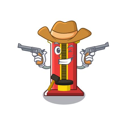 Cowboy hammer cartoon shaped character game machine vector illustration