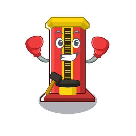 Boxing hammer cartoon shaped character game machine vector illustration