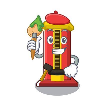 Artist hammer cartoon shaped character game machine vector illustration