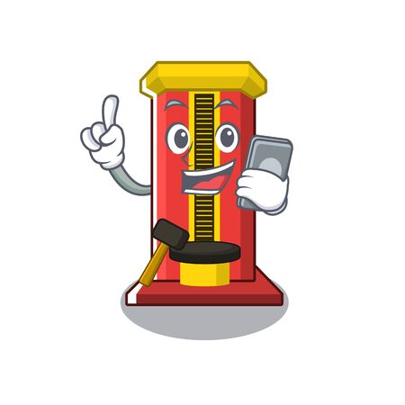 With phone hammer cartoon shaped character game machine vector illustration  イラスト・ベクター素材