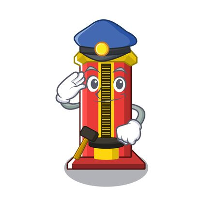 Police hammer cartoon shaped character game machine vector illustration