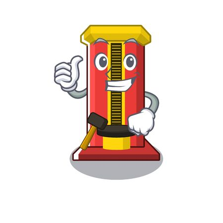 Thumbs up hammer game machine in the cartoon vector illustration Ilustração