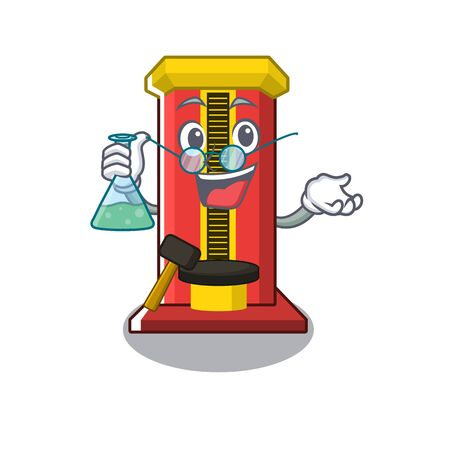 Professor hammer game machine in the cartoon vector illustration