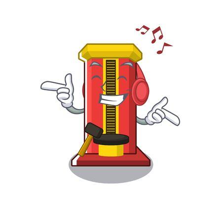 Machine de jeu de marteau de musique d'écoute d'isolement dans l'illustration de vecteur de caractère Vecteurs