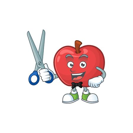 Barber red apple cartoon mascot, character cute vector illustration