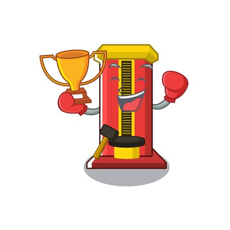 Boxing winner hammer game machine with the cartoon vector illustration  イラスト・ベクター素材