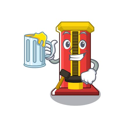 With juice hammer game machine isolated in character vector illustration Illustration