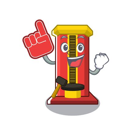Foam finger hammer game machine with the cartoon vector illustration Banque d'images - 129427735