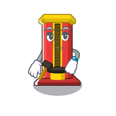 Waiting hammer game machine with the cartoon vector illustration
