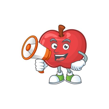 With megaphone red apple cartoon mascot, character cute vector illustration  イラスト・ベクター素材