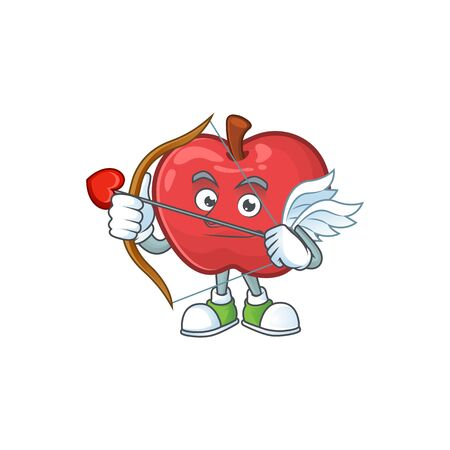 Cupid red apple cartoon mascot, character cute vector illustration 일러스트