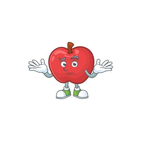 Grinning apple fruit character mascot for health dessert vector illustration