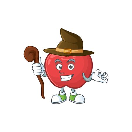 Witch red apple funny character for vegetarian cartoon vector illustration