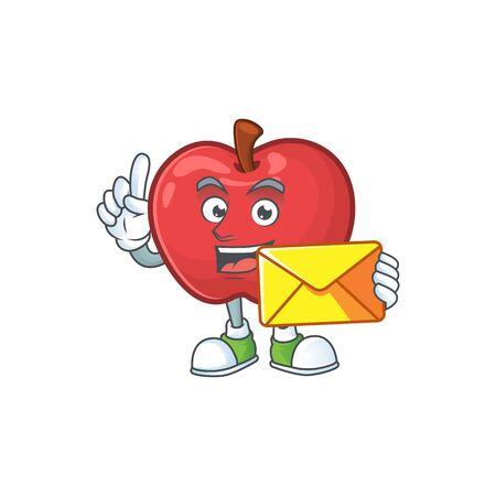 With envelope apple fruit character mascot for health dessert vector illustration